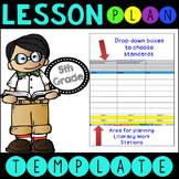 Common Core Lesson Plan Template With Drop Down Boxes 5th Grade Language Arts