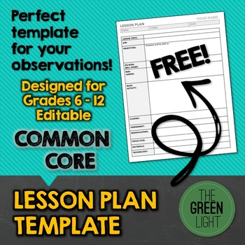 Common Core Lesson Plan Template For Middle And High School By The