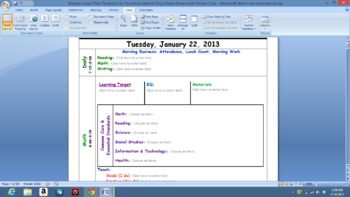 Common Core  Lesson Plan Template with Drop Down Boxes for Grade Four