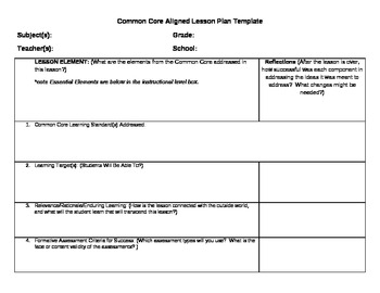 Common core lesson plan template with learning levels by for Lesson plan template using common core standards