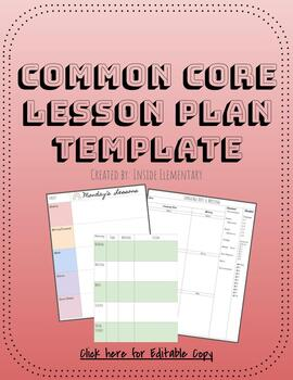 Common Core Lesson Plan Templates