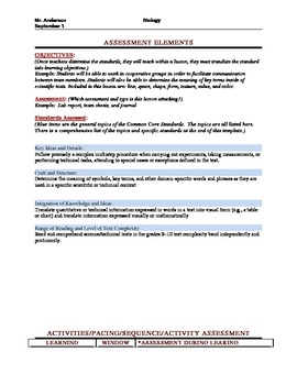 Common Core Lesson Plan with Danielson Framework for Science/ Biology