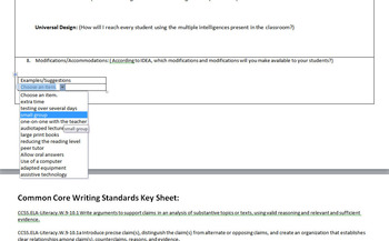 Common Core Lesson Plan with automated fields and suggestions and cheat sheets