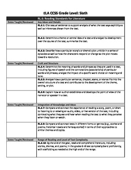 Common Core Lesson Planning Checklist - 6th Grade