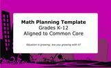 Common Core Lesson Planning Template: Mathematics
