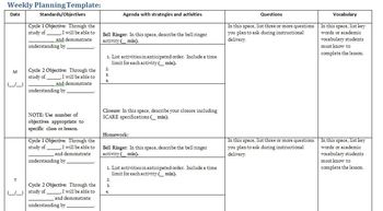 Common Core Lesson Planning Template and Tips