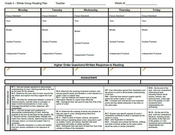Common Core Lesson Planning Template for Whole Group Reading Third Grade