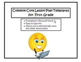 Common Core Lesson Planning Templates in Microsoft Word for 1st Grade