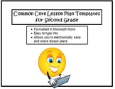 Common Core Lesson Planning Templates in Microsoft Word for 2nd Grade