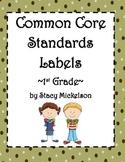 Common Core Lesson Plans Labels - 1st Grade