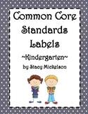 Common Core Lesson Plans Labels - Kindergarten