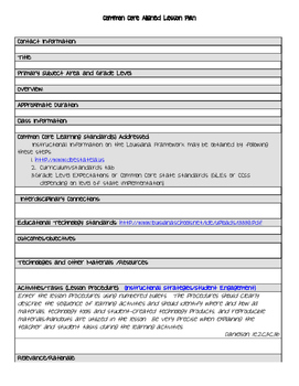 Common Core Lesson Template