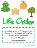 Common Core Lifecycle Unit First Grade Butterfly, Frog, Ap