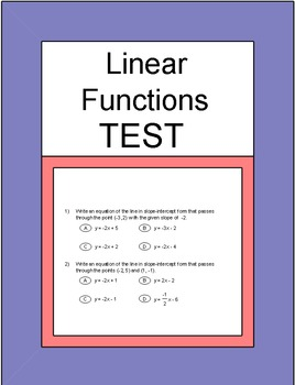 Slope - Slope and Linear Functions Test for Common Core wi