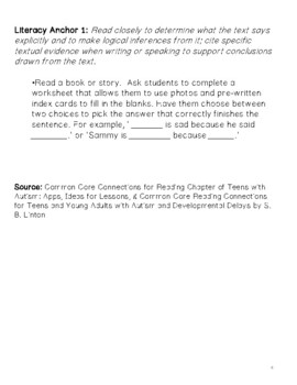 Autism Common Core Literacy Anchor Connections for Teens w/Autism (Special Ed.)