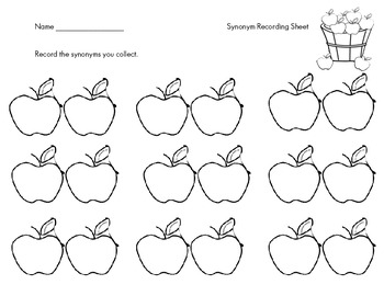 Common Core Literacy Center Game: Synonyms-Apple Themed