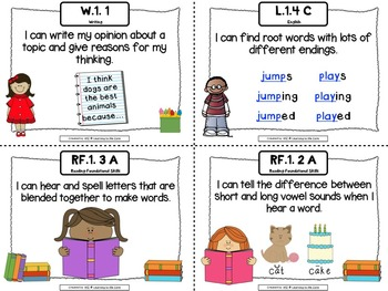 Common Core Literacy I Can Statements First Grade
