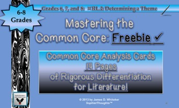 Common Core Analysis Cards 6, 7, 8 RL.2 Determining Theme Freebie