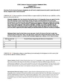 Common Core Literature Assessment RL.7.1, 7.2, 7.3, & 7.6