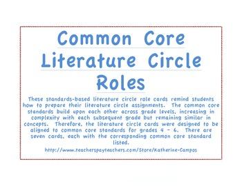 Common Core Literature Circle Job Cards - Standards Based - Upper Grades