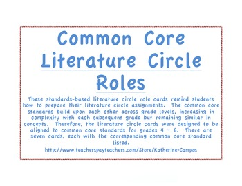 Common Core Literature Circle Job Cards - Standards Based