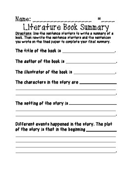 Common Core Literature and Informational Text Book Summary Writing Packet