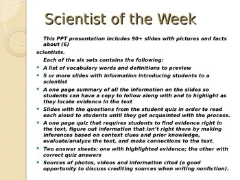 Common Core Text Dependent Questions Close Reading: Scientist of the Week 5