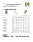 "Long Vowel ""a"" Spelled ""a-e"" Final -e  -Common Core Word Search!"