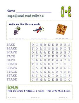 """Long Vowel """"a"""" Spelled """"a-e"""" Final -e  -Common Core Word Search!"""