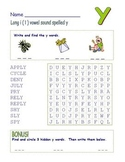 """Common Core - Long """" i """" Spelled """" y """" Word Search Fun!"""