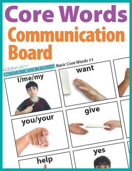 Core Words Low Tech Communication Board