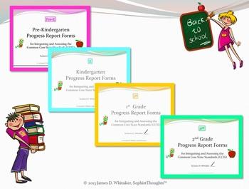 Common Core Lower Elementary ELA Grades PK, K, 1 and 2 Progress Report Bundle
