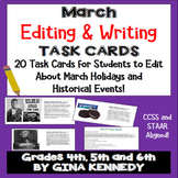"""March Themed """"Daily Editing"""" Writing Task Cards, Fun History Integration!"""