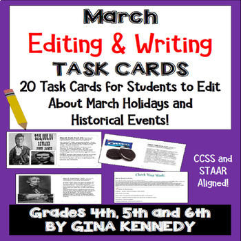 "March Themed ""Daily Editing"" Writing Task Cards, Fun History Integration!"