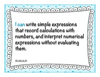 "Common Core MATH ""I Can"" Statement Cards 5th Grade Turquoise"