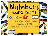 Common Core MATH Numbers Card Sorts Numeral, Object, Words 1-20