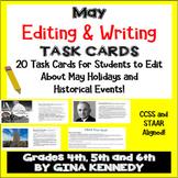 "May Themed ""Daily Editing"" Writing Task Cards, Fun History Integration!"