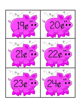 Common Core MONEY PIGS COIN IDENTIFICATION & MATCHING CARDS 1, 5, 10, 25 Cents