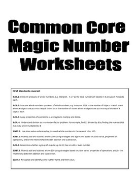 Common Core Magic Number Math