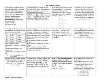 Common Core Math 1/Alg 1: 12 Days of Christmas/Summer! Final Exam Review WS