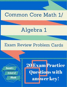 Common Core Math 1/Algebra 1 Exam Practice Problem Cards