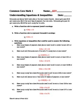 Common Core Math 1 Applications Of Solving Equations And