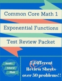 Common Core Math 1: Exponential Functions Unit Test Review Packet-2 Reviews!