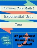 Common Core Math 1: Exponential Unit Test