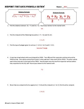 Common Core Math 1 Geometry Unit Review & Quiz (Midpoint/Distance)