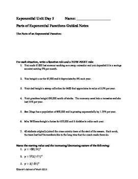 Common Core Math 1: Parts of Exponential Functions Guided Notes and Worksheet