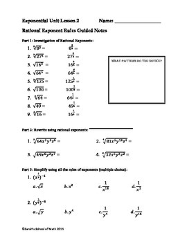 Common Core Math 1: Rational Exponent Rules Guided Notes, WS, Domino Activity