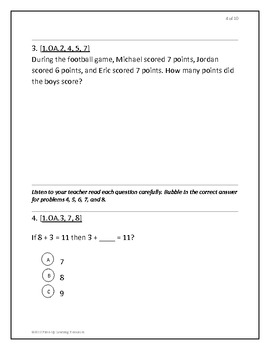 Common Core Math 1st grade beginning of year Diagnostic Assessment