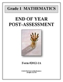 Common Core Math 1st grade end of year Post-Assessment