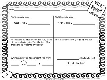 Common Core Math 2nd Grade Spiral Review